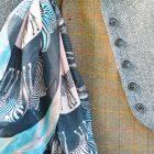 Abracazebra Teal scarf styled in buttonhole