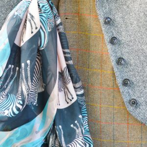 Abracazebra Teal scarf styled in buttonhole