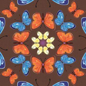 Butterfly Kaleidoscope Autumn scarf flat
