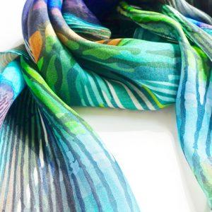Peacock Paradise chiffon scarf loose