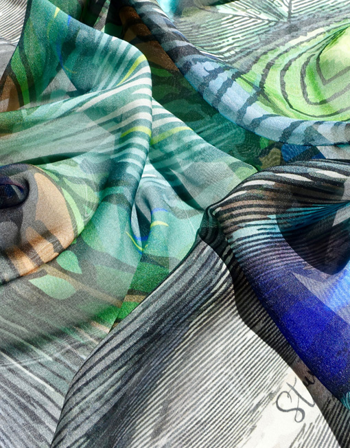 Peacock Paradise chiffon scarf in folds