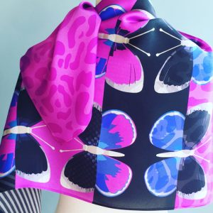 Fuschia Flighty ultra violet scarf