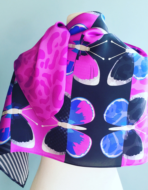 Fuschia Flighty ultra violet scarf