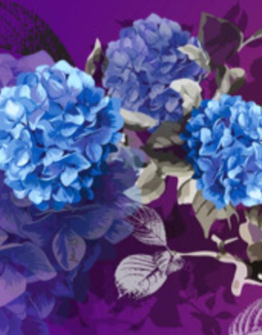 Hydrangea Garden silk scarf flat detail