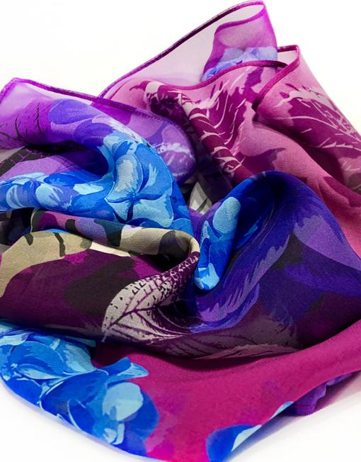 Hydrangea Garden silk scarf in folds