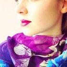 Hydrangea Garden silk scarf round neck